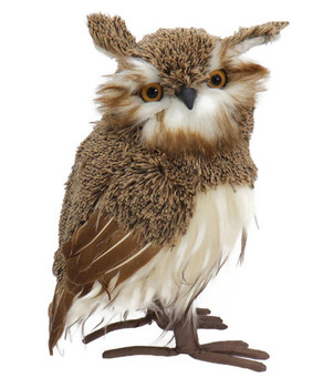 Soft Yarn and Feathers Brown Owl Figurine - Large