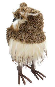 Soft Yarn and Feathers Brown Owl Figurine - Large Front