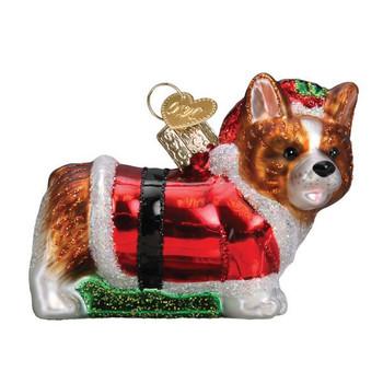 Holly Hat Corgi Puppy Glass Ornament