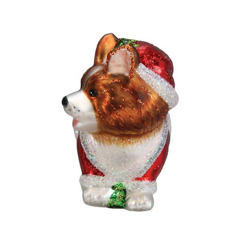 Holly Hat Corgi Puppy Glass Ornament front