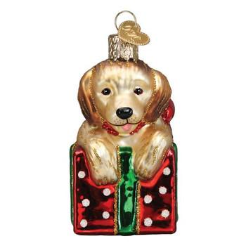 Golden Retriever Puppy Surprise Glass Ornament