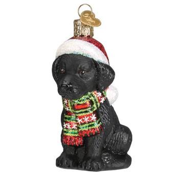 Holiday Black Labrador Puppy Glass Ornament