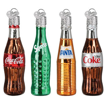 Mini Coca-Cola Soda Bottles Beverage Glass Ornaments Set
