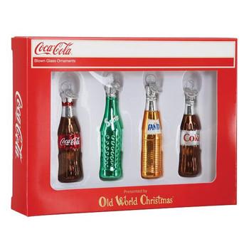 Mini Coca-Cola Soda Bottles Beverage Glass Ornaments Set gift box