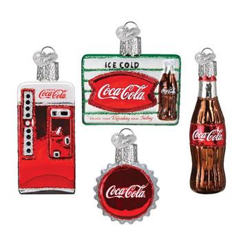 Mini Coca-Cola Brand Retro Glass Ornaments Set