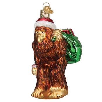 Santa Sasquatch Glass Ornament