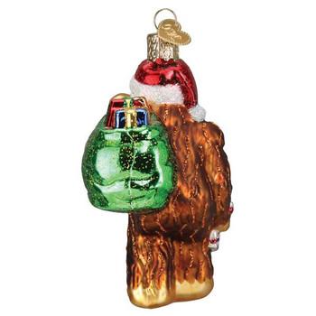 Santa Sasquatch Glass Ornament back