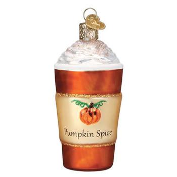 Pumpkin Spice Latte Coffee Glass Ornament