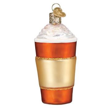 Pumpkin Spice Latte Coffee Glass Ornament back