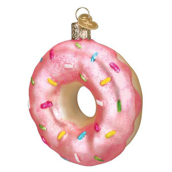 Pink Frosted Donut Glass Ornament
