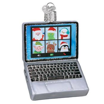 Virtual Friends Laptop Glass Ornament