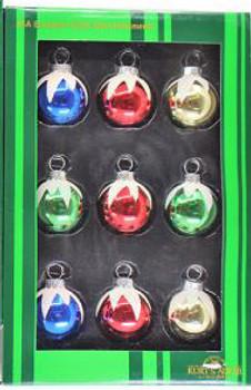 "Mini - Small Decorated Snowy Glass Ornaments 9 pc Set, 1 1/2"", KAGG0320-snowy"