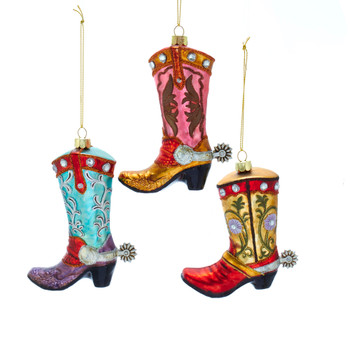 "Set of 3 Asst Cowboy Boot with Spur Glass Ornaments, 5"", KANB1479-SET"