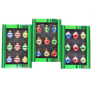"""3 - 9pc Sets of Mini - Small Decorated Snowy Glass Ornaments, 1 1/2"""", KAGG0320 SET"""