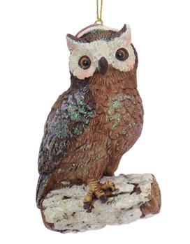 Glittered Woodland Wildlife Owl Ornament