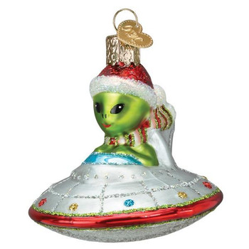 """Space Ship with Alien - UFO Glass Ornament, 3"""", OWC# 46105"""