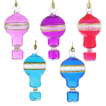 Set of 5 Small Hot Air Balloon Mouth-Blown Egyptian Glass Ornament