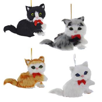 Set of 4 Plush Kitten Ornaments