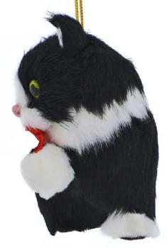 Set of 4 Plush Kitten Ornaments Black White  Side