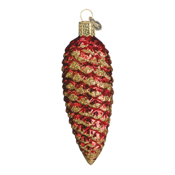 Shimmering Pine Cone Glass Ornament red
