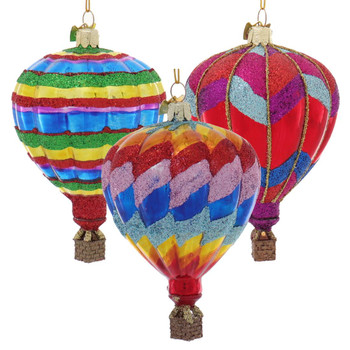 Glittered Patterns Hot Air Balloon Glass Ornaments