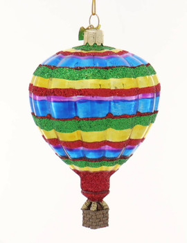 Glittered Patterns Hot Air Balloon Glass Ornaments Stripes Front