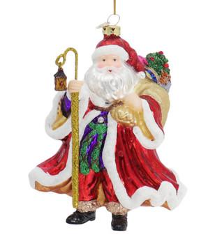 Swarovski Elements Elegant Santa Glass Ornament