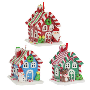 Candy Stripe Roof LED Light Up Gingerbread House Ornament