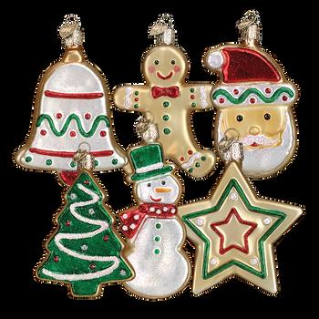 "6 Asst Sugar Cookie Glass Ornaments, 3 3/4"", OWC # 32183 SET"