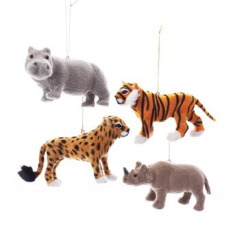 "4 pc Furry Jungle Safari Animal Ornaments, 4 3/4 - 6"" long, KAC4842"