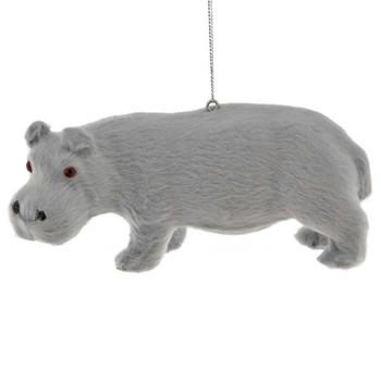 4 pc Furry Jungle Safari Animal Ornaments Hippo Side