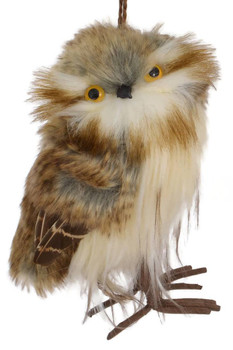 Plush Standing Brown - White Owl Ornament facing right front