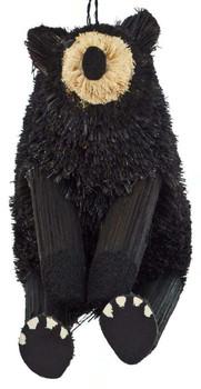 Set of 2 Buri Black Bear Sitting Ornament Sitting Front