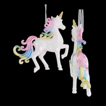 White with Pastel Unicorn Ornament gold horn side back