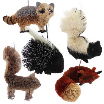 Set of 5 Fun Woodland Buri Animals Ornaments
