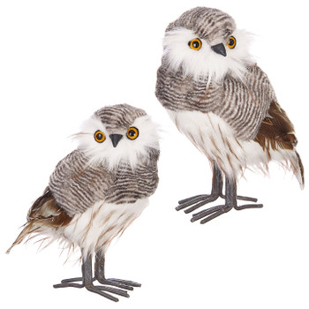 """Set of 2 Fluffy Gray Textured Owl Figurine with feathers - Large, 9 3/8 - 9 1/2"""", RA3903425 SET"""