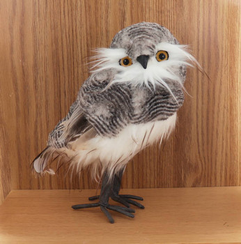 Set of 2 Fluffy Gray Textured Owl Figurine with feathers - Large