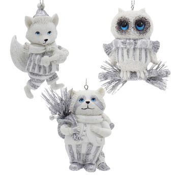 Whimsical White Silver Wildlife Ornaments