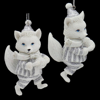 Whimsical White Silver Wildlife Ornaments Fox Front Side