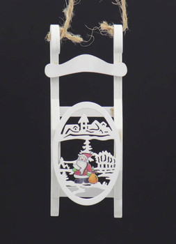 Set of 3 Winter White Wooden Sled Ornaments Santa