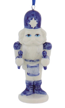 Delft Styled Blue and White Nutcracker Ornaments drum front