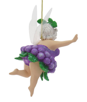 Set of 2 Humorous Grey Haired Lady Fairy with Wine Ornament no shoes back