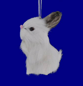Small Faux Fur White Rabbit Ornament Sitting Up