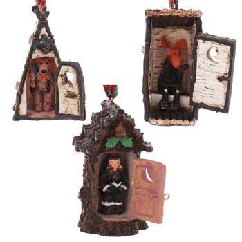 Set of 3 Man, Moose, Bear Woodland Outhouse Ornaments