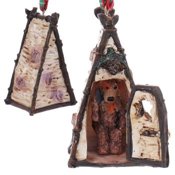 Set of 3 Man, Moose, Bear Woodland Outhouse Ornaments Bear Front Back