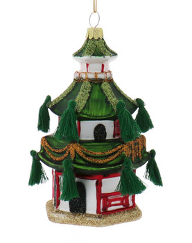 Set of 3 Sparkly Asia Pagoda Glass Ornament Green Front