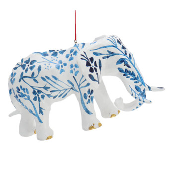 Large Blue and White Chinoiserie Elephant Ornament