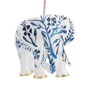 Large Blue and White Chinoiserie Elephant Ornament Back