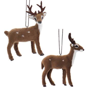 Furry Spotted Brown Buck - Deer Ornament