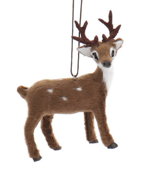 Furry Spotted Brown Buck - Deer Ornament Buck Right Side